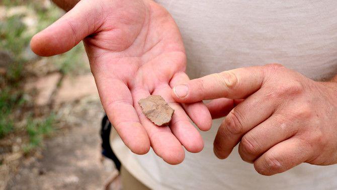 Una petita eina de tall trobada al costat de restes d'ós a la cova del Toll