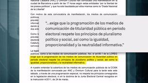 La Junta Electoral desestima el recurs del PP contra l'emissió de la marxa de l'11N per TV3 i Catalunya Ràdio