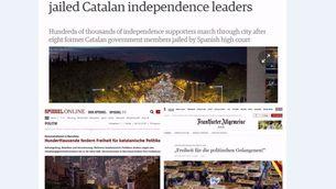 La mirada de la premsa internacional sobre la manifestació per la llibertat