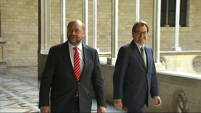 El president del Parlament Europeu, Martin Schulz, amb el president Mas.