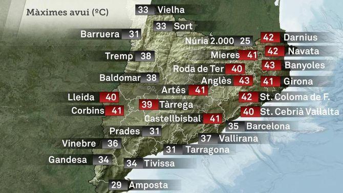 Mapa de les temperatures màximes d'aquest diumenge