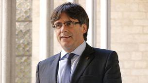 Primer plànol del president de la Generalitat, Carles Puigdemont, el 24 de maig del 2017 (Horitzontal)