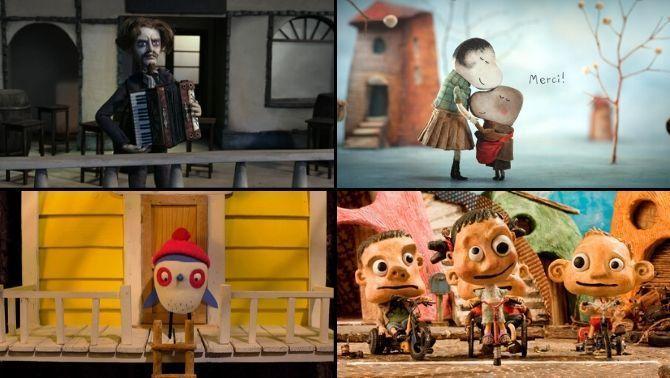 """Una imatge dels curts """"Radio Dolores"""", """"El cassó de l'Anatole"""", """"Por de volar"""" i """"Grand prix"""""""