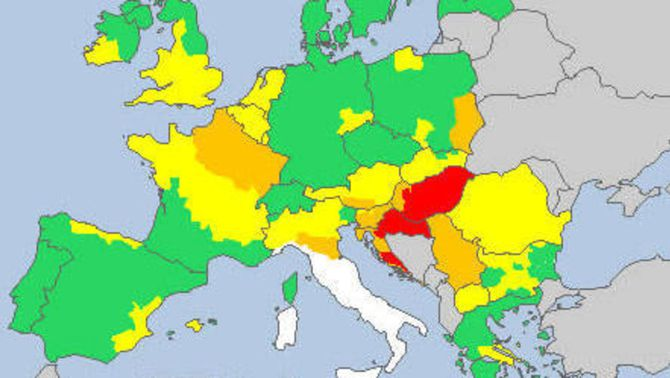 Mapa d'avisos meteorològics (Font: Meteoalarm)