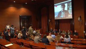 Reunió de JxCat al Parlament amb el president Torra i Puigdemont per videoconferència des de Berlín