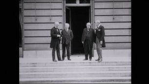 El primer ministre britànic, Lloyd George; el primer ministre italià Vittorio Emanuele Orlando; el primer ministre francès, Georges Benjamin Clemenceau i el president nord-americà, Wilson Woodrow
