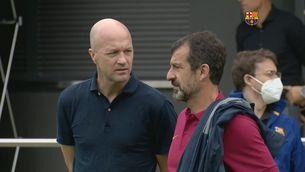 Jordi Cruyff, a l'entrenament del Barça a la Red Bull Academy