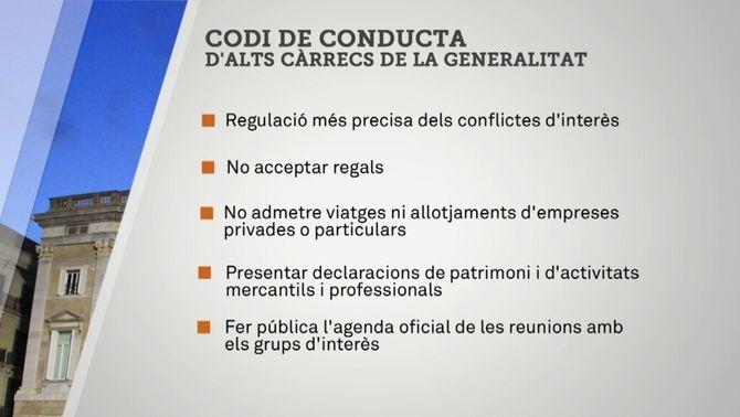El govern aprova un codi de conducta per a alts càrrecs i entitats públiques