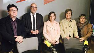 Forcadell acompanyada de Nuet, Corominas, Simó i Barrufet, aquest divendres a Catalunya Ràdio