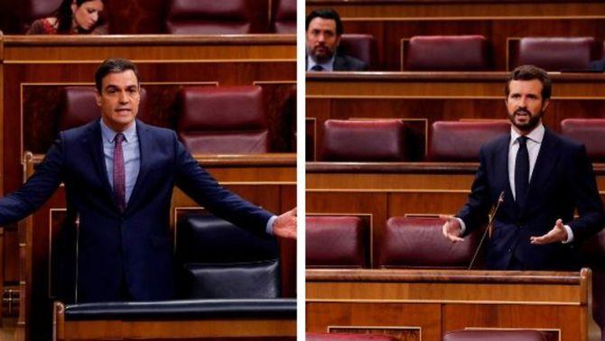 Pedro Sánchez i Pablo Casado, durant la sessió d'aquest dimecres al Congrés