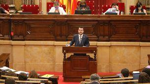 El president de la Generalitat, Pere Aragonès, en una intervenció al Parlament, al juliol