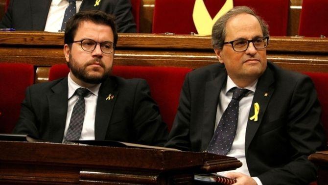 Pere Aragonès i Quim Torra al Parlament