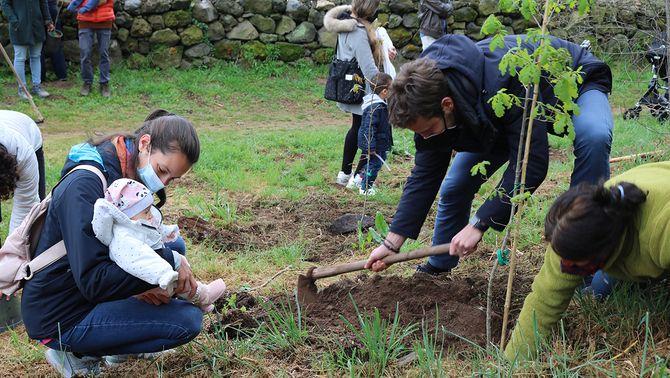 Una família plantant un arbre en el projecte 'Un nadó, un arbre'
