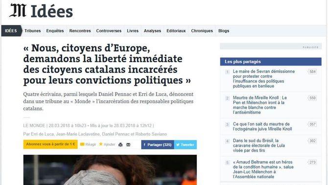 """Captura de l'article dels quatre escriptors a """"Le Monde"""" sobre els presos independentistes"""