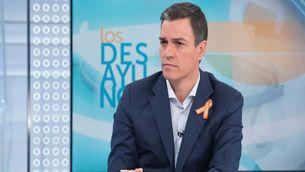 Pedro Sánchez durant l'entrevista a TVE