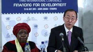 El secretari general de l'ONU, Ban Ki-moon, durant una conferència internacional que es fa aquests dies a Addis Abeba (Reuters)