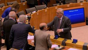 Jean-Claude Juncker al Parlament Europeu abans de començar la sessió