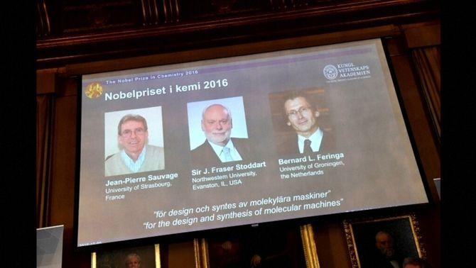 Els tres premiats amb el Nobel de Química 2016