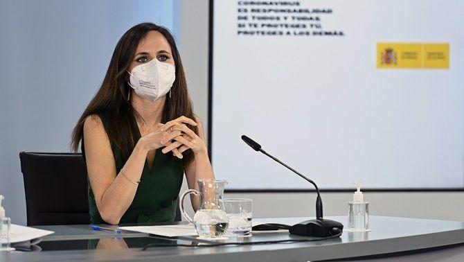 La ministra de Drets Socials, Ione Belarra, en la roda de premsa posterior al Consell de Ministres