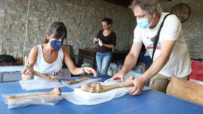 Tres investigadors analitzen les restes animals trobades