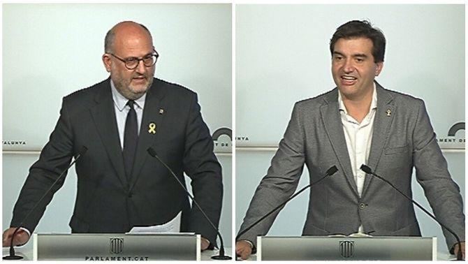 Eduard Pujol (JxCat) i Sergi Sabrià (ERC), aquest dimarts al Parlament