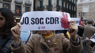 Imatge de la concentració a la plaça de Sant Jaume de Barcelona