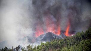 Al volcà de Cumbre Vieja, a l'illa de La Palma, ja hi ha set boques eruptives actives (EFE/Miguel Calero)