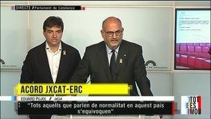 """Eduard Pujol: """"Celebrem l'acord per garantir les majories parlamentàries"""""""