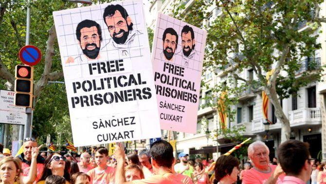 Manifestació per demanar la llibertat dels líders independentistes (Arxiu)