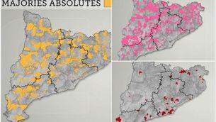 Els mapes de les majories absolutes als ajuntaments