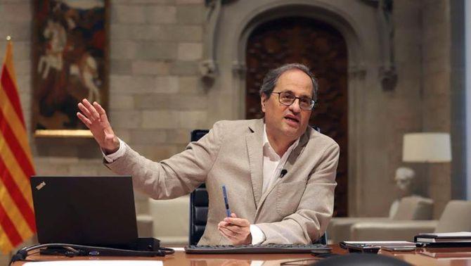 El presidnet Torra, durant la seva intervenció en la videoconferència amb Sánchez