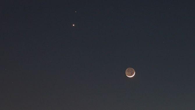 Venus, Mart i la Lluna nova (Foto: Lluís Roura)