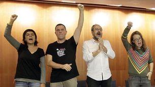 Gabriel, Busqueta, Baños i Reguant, al final de la conferència política d'aquest dijous (EFE)