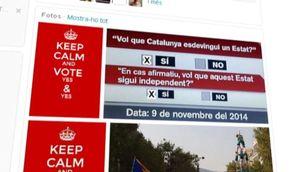 """Keep calm and vote yes & yes"", un dels missatges que ha circulat per Twitter."