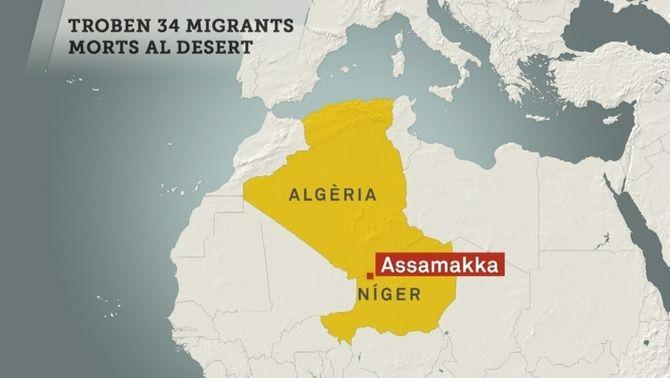 34 immigrants, vint d'ells nens, moren de set al desert del Níger