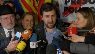 Lluís Puig, Toni Comín i Meritxell Serret, aquest dijous a Brussel·les després de declarar davant del jutge