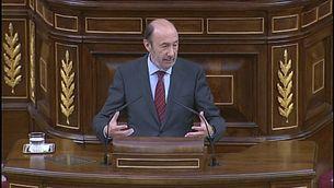 Pérez Rubalcaba, durant la seva intervenció al Congrés.