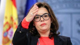 Soraya Sáenz de Santamaría durant l'última compareixença informativa posterior al Consell de Ministres (EFE)