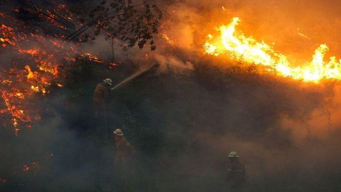 1600 bombers, 495 vehicles i 15 mitjans aeris lluiten contra els principals focus del l'incendi. Reuters