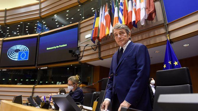 El president del Parlament Europeu, David Sassoli, en l'obertura del plenari aquest dilluns a Estrasburg