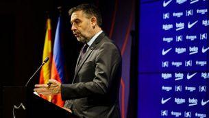 Josep Maria Bartomeu anunciant que dimiteix com a president del Barça