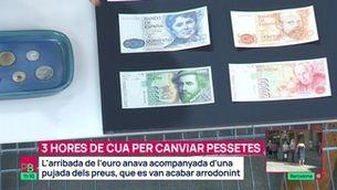 Tres hores de cua per canviar pessetes per euros