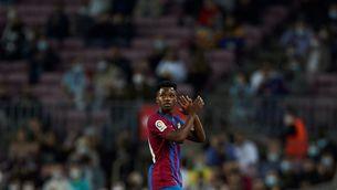 Ansu Fati celebra el seu gol contra el València