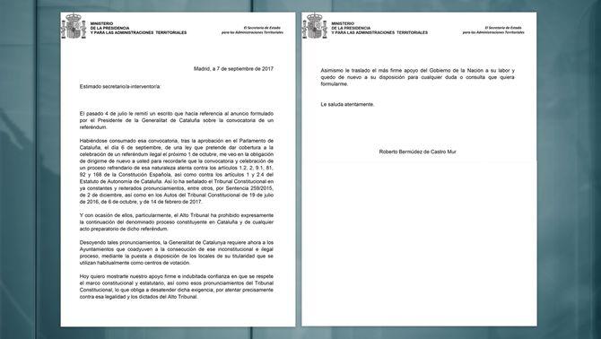 La carta del govern espanyol als ajuntament catalans
