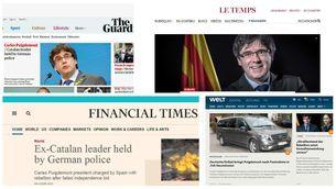 La detenció de Puigdemont encapçala les portades de la premsa internacional
