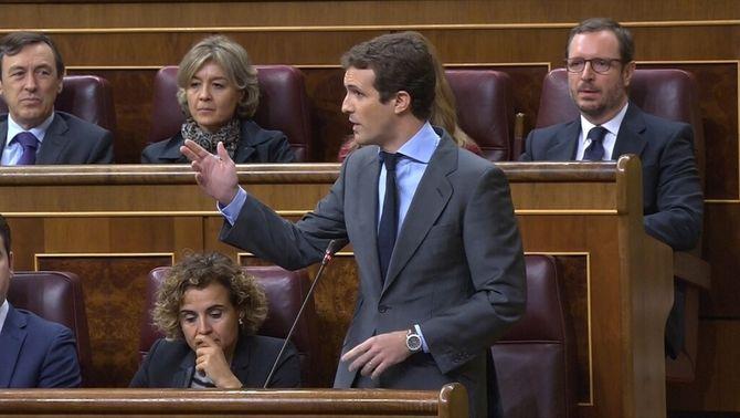 El president del PP, Pablo Casado, aquest dimecres al Congrés
