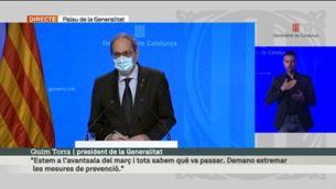 Roda de premsa de Quim Torra i Josep Maria Argimon sobre l'última hora de la pandèmia