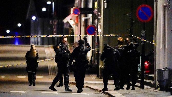 Agents de la policia noruega en un carrer de Kongsberg (Reuters/Hakon Mosvold)