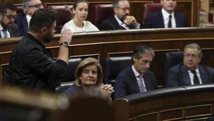 Gabriel Rufián en el moment de marxar de l'hemicicle del Congrés (EFE)
