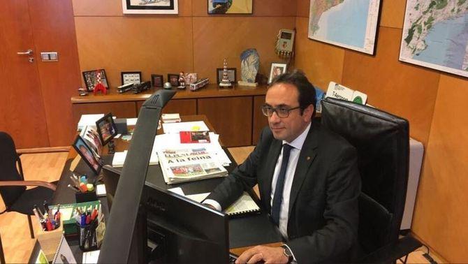 Josep Rull, aquest matí, al seu despatx de la conselleria